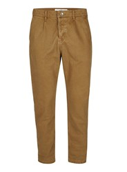 Topman Brown Tan Twill Cotton Cropped Tapered Trousers