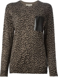 Michael Michael Kors Animal Print Sweater Nude And Neutrals