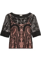 Temperley London Bertie Embroidered Appliqued Tulle Top Black