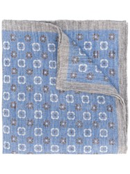 Eleventy Printed Linen Scarf Blue
