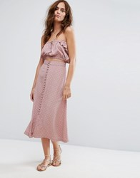 Flynn Skye Printed Button Up Skirt Co Ord Mauve Cluster Pink
