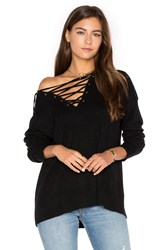 The Kooples Lace Up Knit Sweater Black