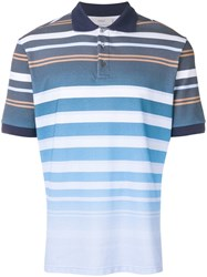 Pringle Of Scotland Faded Stripe Polo Shirt Blue