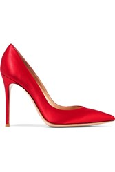 Gianvito Rossi Satin Point Toe Pumps Red