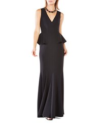 Bcbgmaxazria Sleeveless Solid Peplum Gown Black