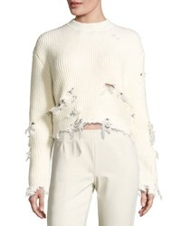 Yeezy Destroyed Wool Blend Sweater Off White Open Off White