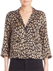 Equipment Kate Lake Leopard Silk Pajama Top True Black