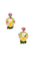 Mercedes Salazar Fiesta Earrings In Metallic Gold. Green And Pink