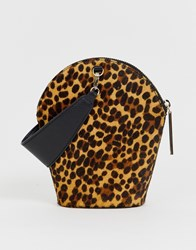 Whistles Leonard Leopard Wristlet Bag Brown