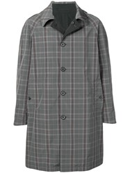 Lanvin Checked Single Breasted Coat Grey