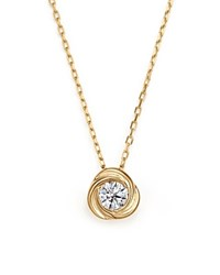 Bloomingdale's Diamond Love Knot Pendant Necklace In 14K Yellow Gold .33 Ct. T.W.