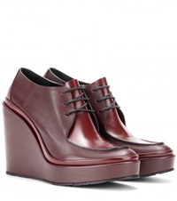Jil Sander Platform Leather Derby Shoes Red