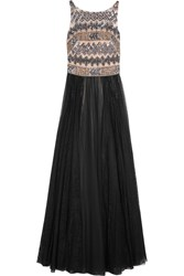 Mikael Aghal Embellished Tulle Gown Black