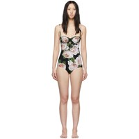 Dolce And Gabbana Black Rose One Piece Swimsuit