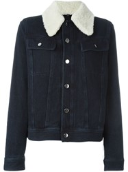 Maison Martin Margiela Mm6 Shearling Collar Denim Jacket Blue