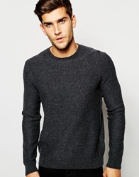 Boss Orange Jumper With Crew Neck In Lambswool Charcoal