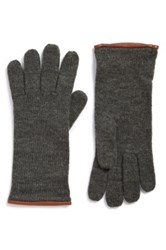 Michael Michael Kors Leather Trim Knit Gloves Gray