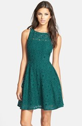 Women's Bb Dakota 'Renley' Lace Fit And Flare Dress Evergreen