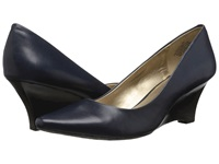 Circa Joan And David Deacon Navy Leather Women's Wedge Shoes Blue