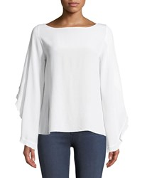 Bailey 44 Thesis Split Sleeve Ruffle Silk Top White