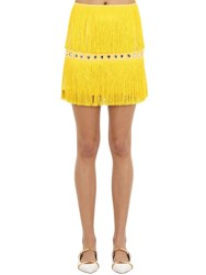 Sara Battaglia Embellished Mini Skirt W Fringes Yellow
