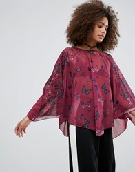 Qed London Butterfly Print Tunic Red