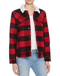 Levi's Boyfriend Sherpa Trucker Jacket Cherry Bomb Plaid