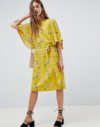 Soaked In Luxury Flute Sleeve Midi Dress Floral Print Yellow