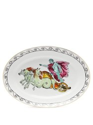 Richard Ginori X Luke Edward Hall Oval Chariot Porcelain Platter White Print