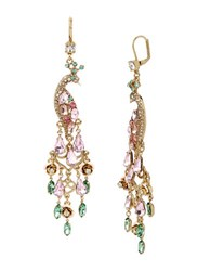 Betsey Johnson Crystal And Faceted Stone Peacock Earrings Multi