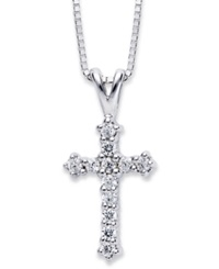 Macy's Diamond Cross Pendant Necklace In 14K White Gold 1 10 Ct. T.W.