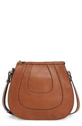Sole Society Korah Faux Leather Saddle Bag Brown Cognac