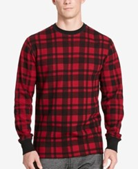 Polo Ralph Lauren Men's Big And Tall Plaid Waffle Knit Crew Neck Thermal Top Red Plaid