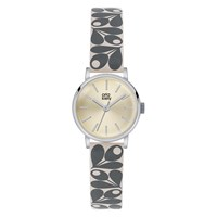 Orla Kiely Women's Plant Print Strap Leather Strap Watch Grey Cream