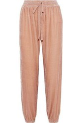 Current Elliott The Eden Cropped Velvet Track Pants Antique Rose