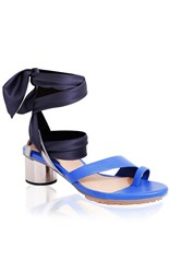 Ginger And Smart Maya Ankle Wrap Mid Heel Blue