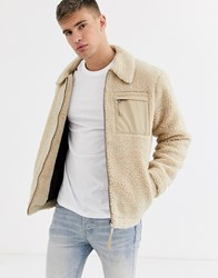 New Look Borg Jacket With Contrast Pocket In Cream Beige