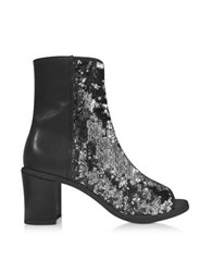 Maison Martin Margiela Black And Silver Sequins Open Toe Bootie