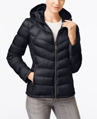 Michael Kors Petite Hooded Quilted Packable Down Puffer Coat Only At Macy's Navy