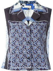 Wunderkind Scarf Print Blouse Blue