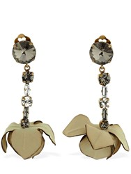 Marni Flowers And Crystal Clip On Earrings Beige