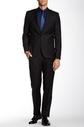 Vince Camuto Dark Navy Narrow Stripe Two Button Notch Lapel Wool Suit