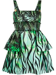 Fausto Puglisi Layered Foliage Print Mini Dress 60
