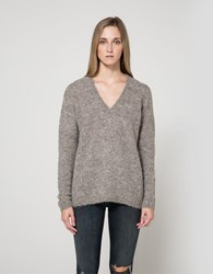 Just Female Alpha Knit Blouse In Grey