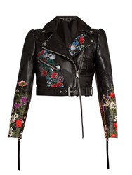 Alexander Mcqueen Floral Motif Cropped Leather Jacket Black Multi