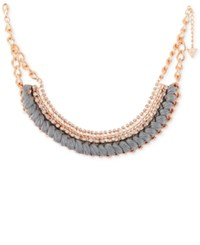 Guess Rose Gold Tone Crystal And Thread Collar Necklace 15 2 Extender