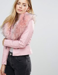 Qed London Jacket With Faux Fur Collar Pink
