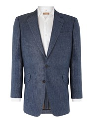 Chester Barrie Classic Linen Single Breasted Jacket Blue