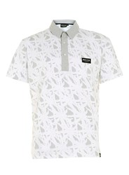 Topman Nicce White And Grey Tropical Print Polo Shirt