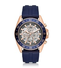 Michael Kors Jetmaster Automatic Rose Gold Tone And Silicone Watch